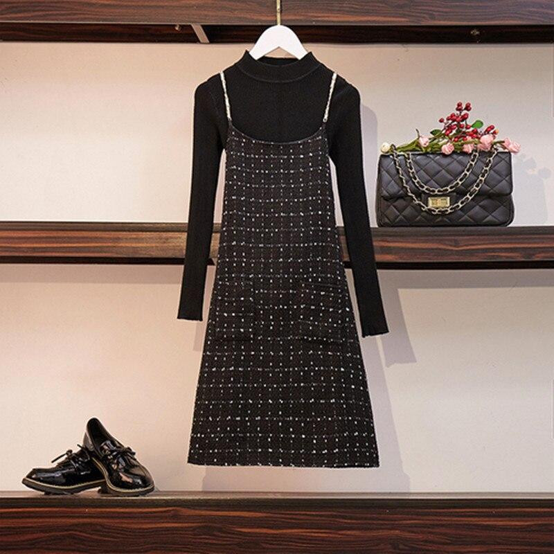 عالية الجودة 2020 المرأة الربيع الأسود سترة + حبال تويد اللباس 2 قطعة مجموعة الدعاوى بأكمام طويلة منقوشة الصوف اللباس 2 قطعة عارضة مجموعة