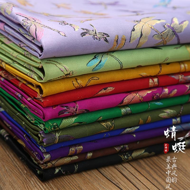 Libélula Floral tejido Damasco brocado de jacquard ropa traje mobiliario para tapizar cortina Material cojín tela 90cm * 50cm