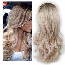 Wignee Lange 2 Ton Ombre Brown Ash Blonde Temperatur Synthetische Perücken Für Schwarz/Weiß Frauen Glueless Wellenförmige Täglichen/cosplay Haar Perücke