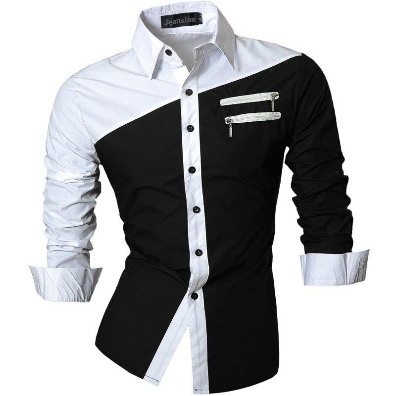 Мужские повседневные приталенные рубашки с длинными рукавами jeansian, повседневные облегающие рубашки на молнии, без карманов, сезон весна-осень, Z015