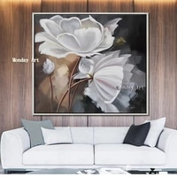 handpained oil painting caudros decoracion palette white flower wall art pictures for living room canvas painting quadros