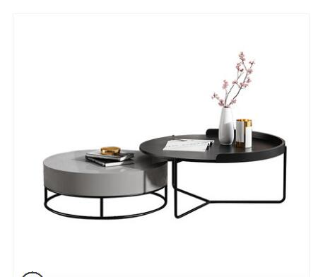 Família pequena rodada de alta e baixa combinação de ferro simples mesa de chá mesa de chá sala personalidade criatividade.