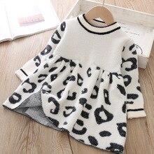 Enfant en bas âge robe pull 2019 enfants chandails hiver léopard cristal enfants robe pull enfant en bas âge robes pull pour enfants