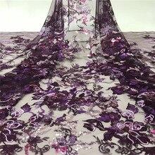 Tissu en dentelle 3D argenté et à paillettes   Tissu africain en Tulle de haute qualité pour robe de mariée, dernière collection 2019