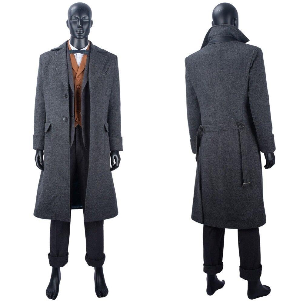 Fantastic Beasts, disfraz de Cosplay de The Crimes of Grindelwald Newt Scamander, traje de Cosplay, abrigo largo, disfraz de Halloween