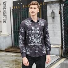VAGUELETTE 3D imprimé Vintage chemise hommes à manches longues mode chemise noire motif hommes décontracté Slim Fit chemises pour hommes M-3XL