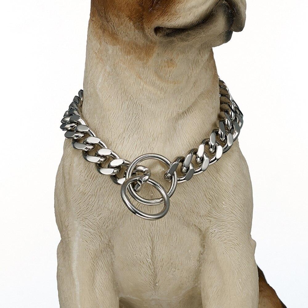 Collar de cadena de acero inoxidable de plata ancha de 12mm con diseño de bordillo cubano para perros, tamaño personalizado de 12 a 32 pulgadas, Gargantilla para perros fuertes