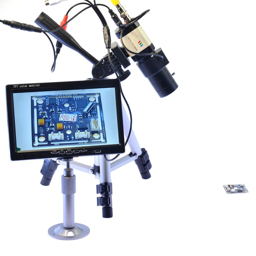800TVL BNC Tripod Microscope Camera Industrial Camera 6-60mm Varifocal Zoom Lens Auto Iris 7 inch LCD Monitor for BGA PCB Repair