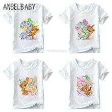 Mädchen Geburtstag Bär Anzahl 1-9 Bogen Drucken T shirt Baby Sommer T-shirt, kinder Cartoon Winnie Geburtstag Präsentieren Nette Kleidung, ooo5237