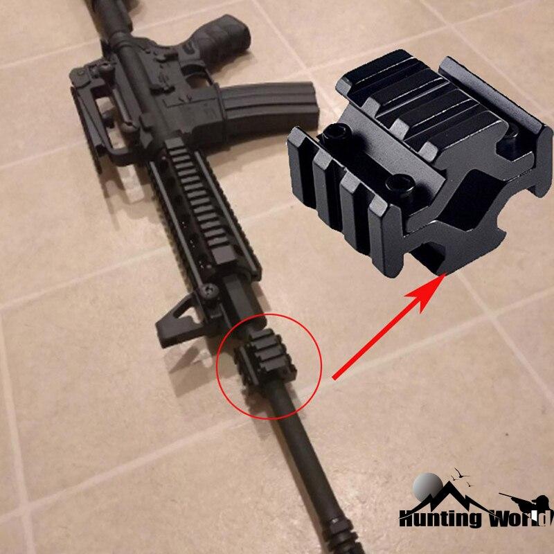 Tactical universal barrel montar 4 trilho 3 slots 20mm ferroviário picatinny/tecelão para bipod rifle scope óptica quad montagem em trilho