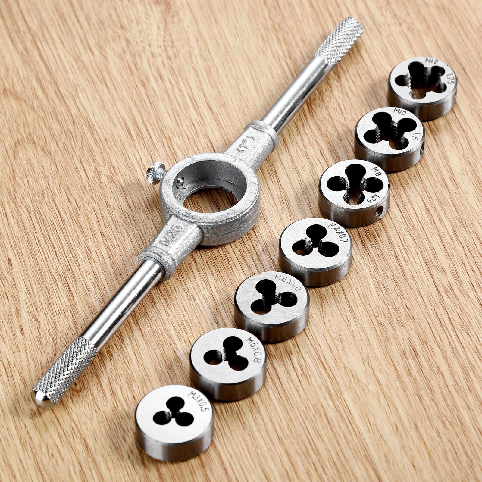 DRELD 8Pcs/set Die Wrench Kit HSS Metric Screw Die M3/M4/M5/M6/M8/M10/M12 Circular Threading Die Hand Tools Kit with Wrench