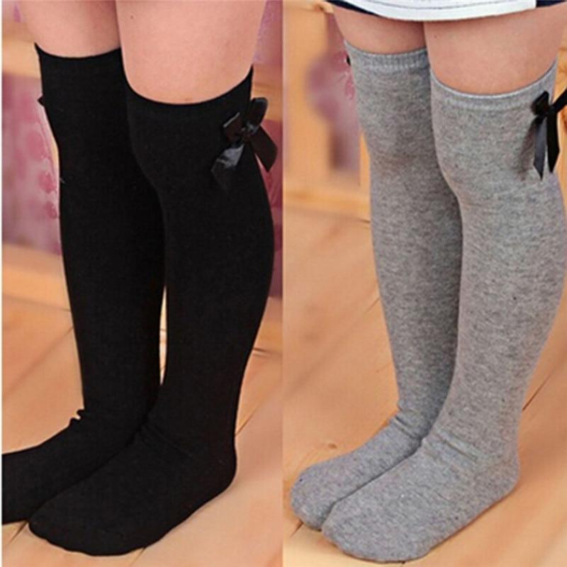 Kids Warm Winter Knee High Stockings Christmas Girls Striped Boot Bowknot Stocking White Black Gray Cotton Xmas Gifts Stocking