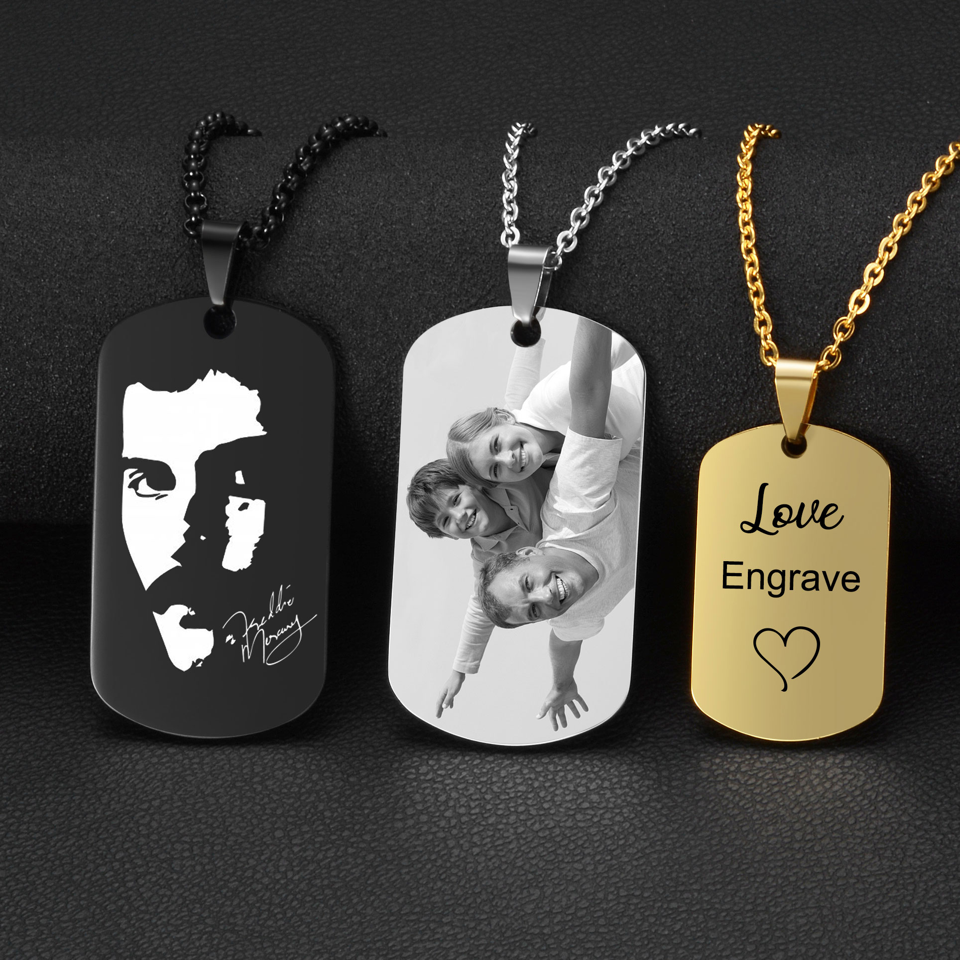 personalized id army tags necklace custom engraved stainless steel dog tag engraved customized dog tag name pendant men jewelry Stainless Steel Custom Engraved Pendant Necklace Dog Army Tag Necklaces Personalized Name ID Memorial Photo Pendants Jewelry DIY