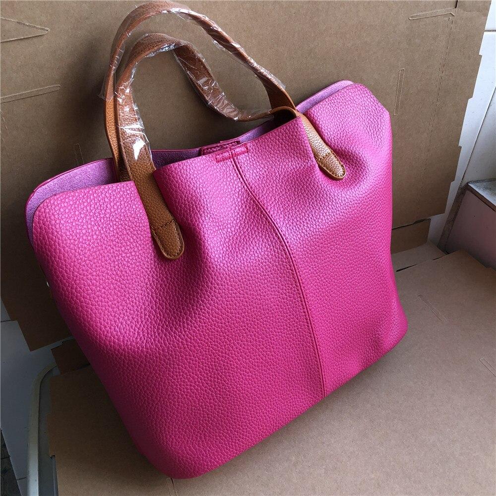 Fashion Women Pink Handbag Female Soft Leather Bucket Handbags Women's Tote Bags Girls Shoulder Hand Bag Woman Pochette Femme