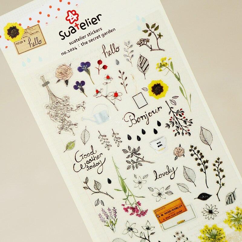 SONIA Secret Garden papel adhesivo paquete DIY diario decoración pegatina álbum scrapbooking
