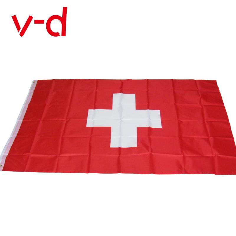 free  shipping xvggdg Switzerland flag 3*5 feet. polyester flag.90*150cm big banner Swiss