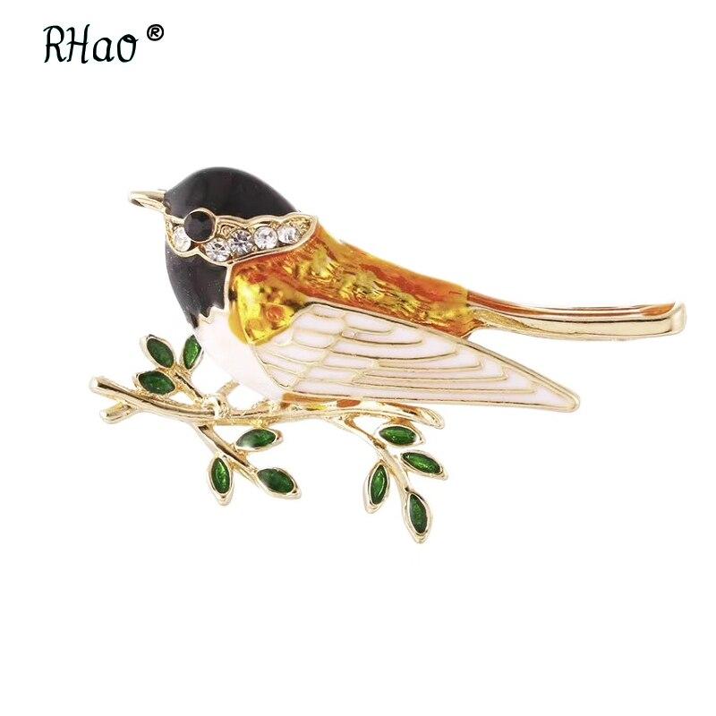 RHao colorido esmalte pájaro oropéndola ramas broches niños dama ramillete para mujer Clips para traje bufanda decoración de ropa alfileres de joyería