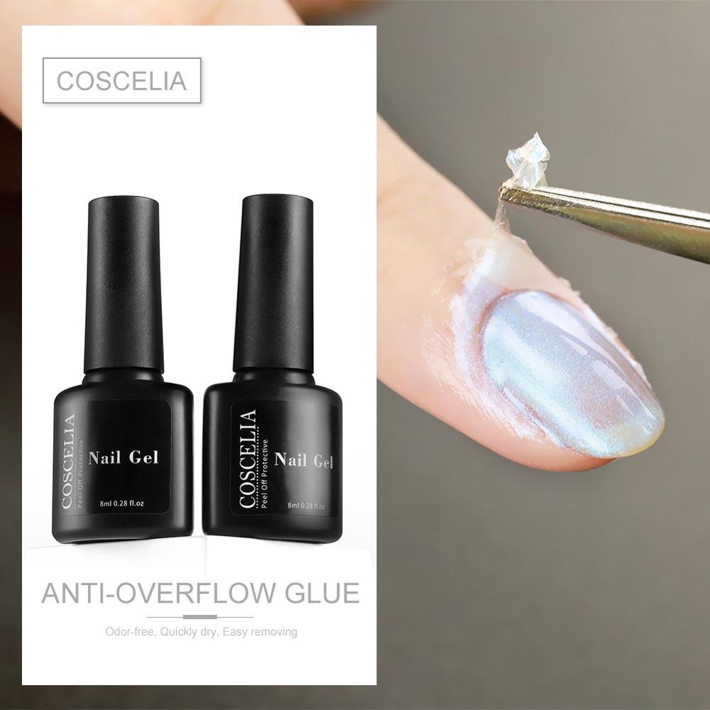 COSCELIA 2 צבעים לקלף נייל אמנות לטקס קלטת קל נקי לק אצבע עור מוגן ציפורניים ג ל פולני
