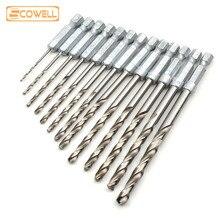 "30% 13PC 1/4 ""caña hexagonal HSS set de puntas de taladro en espiral de madera de Metal herramientas accesorios de taladro con brocas de 1,5mm-6,5mm"