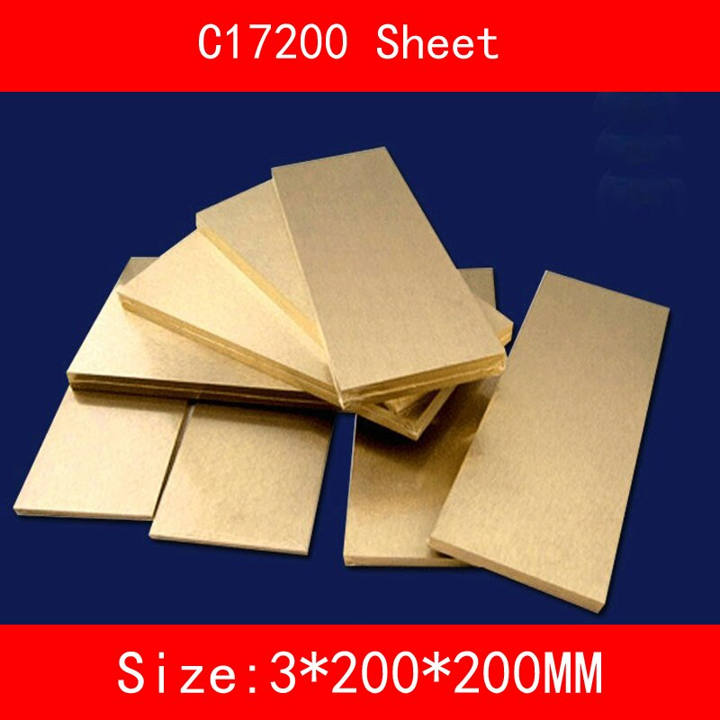 3*200*200mm Placa de CuBe2 C17200 Berílio Bronze Folha de cobre CB101 TOCT BPB2 Material Do Molde Do Laser de corte CNC