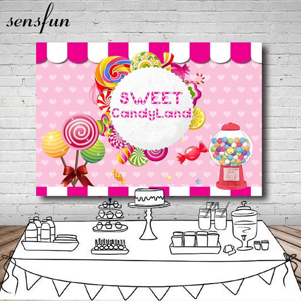 Sensfun Pink Theme Sweet Candy Land Bar Backdrop Girls Birthday Party Photography Backgrounds For Photo Studio 7x5ft Vinyl