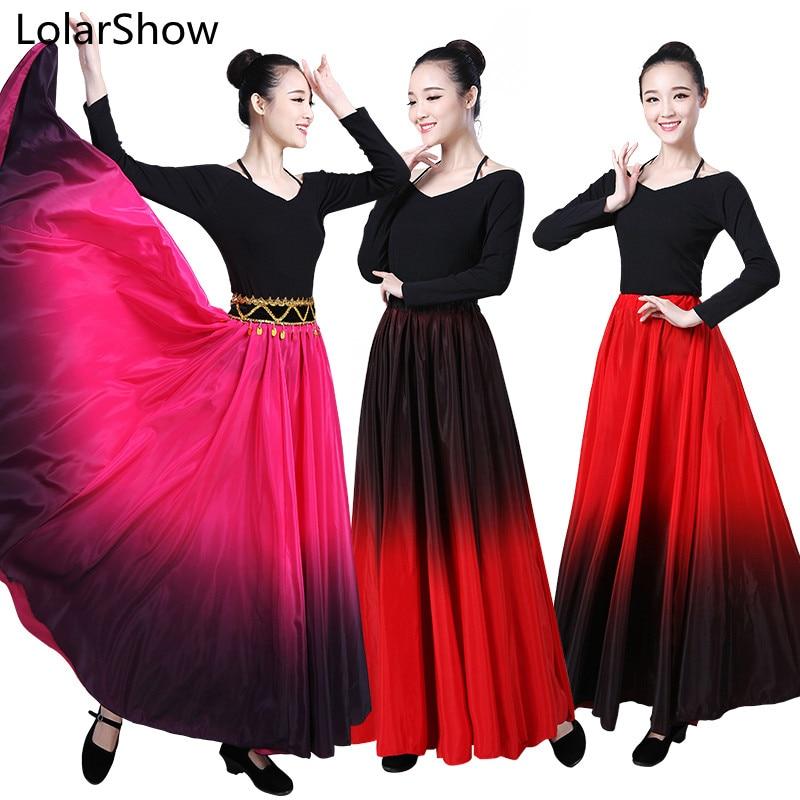 Flamenco dança saia espanhol desempenho traje para mulher vestido flamenco 90/180/270/360 graus