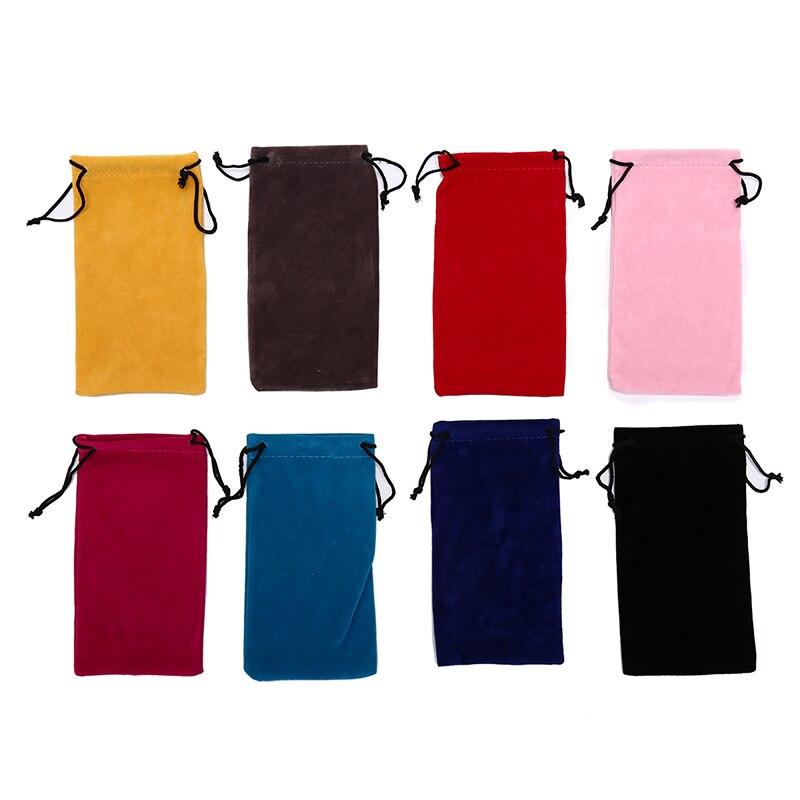 Bolsas de gafas de sol de Color liso, bolsas con cordón, bolsas para miopía, estuche de cristal personalizado, accesorios para gafas, bolsa suave para gafas