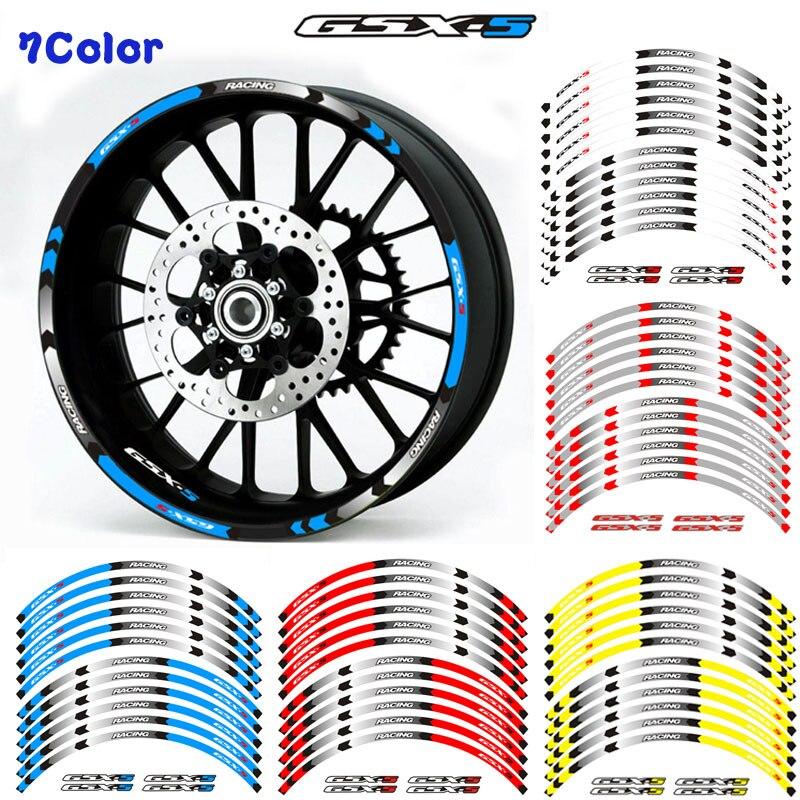 Nueva alta calidad 12 Uds ajuste adhesivo para rueda de motocicleta franja reflectante llanta para Suzuki GSX-S GSX-S750 GSXS1000 750 1000 gsxs