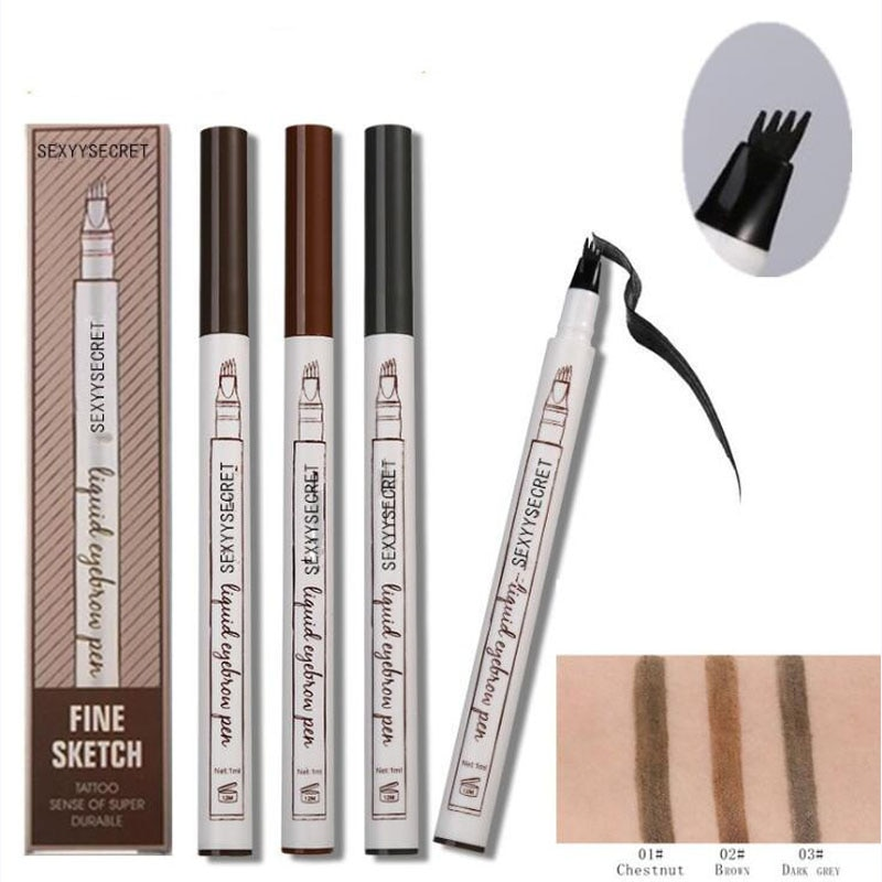 4 Colors Microblading Eyebrow Tattoo Pen 4 Head Fine Sketch Liquid Makeup Pencil Waterproof Tattoo Eye Brow Pen Smudge-proof