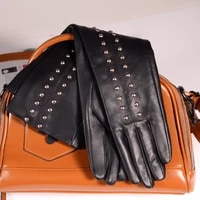 40cm 50cm womens ladies real leather rock rivet overlength punk party evening long gloves