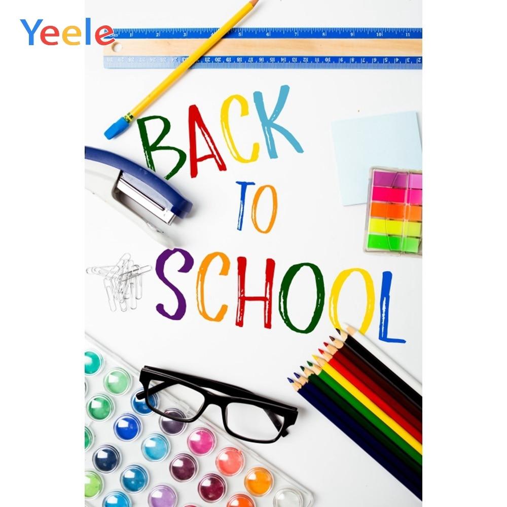 Yeele bienvenidos a los niños de nuevo a la escuela estudio fotografía Fondo bebé escuela suministros personalizado Photocall Fondo foto estudio