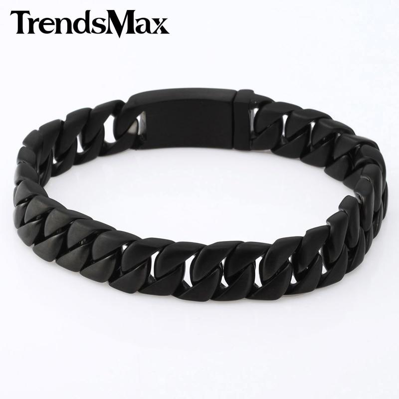 Trendsmax 11mm de ancho curvo negro cubano 316L Acero inoxidable pulsera hombres chicos cadena joyería HB97
