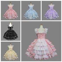 Classique Lolita robe fille femmes couches Cosplay Costume coton Vintage robe Rtro robe pour fille 6 couleurs disponibles