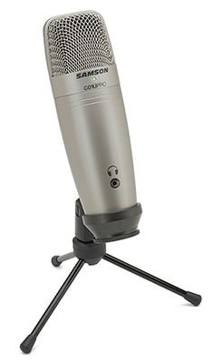 Samson c01u pro Estúdio Microfone Condensador de membrana capacitor do monitor USB com monitoramento em tempo Real-condensador de diafragma grande