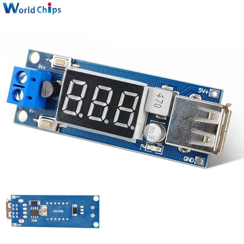 Dc 4.5-40 v a 5 v 2a usb carregador led step-down buck porto conversor voltímetro módulo baixo consumo de energia automático para arduino
