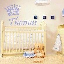 Nouveaux Stickers muraux personnalisés avec nom de bébé   Autocollants en vinyle pour couronne daffiches exclusives de bébé, décor artistique mural pour chambre à coucher pour bébé