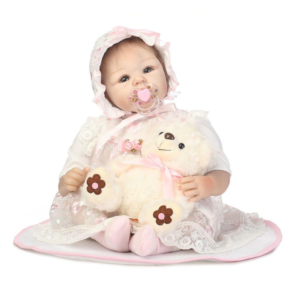 55 cm silicona Reborn bebé muñeca juguetes realista 22 pulgadas princesa Rosa recién nacido muñeca con oso Regalo de Cumpleaños presente las chicas Brin