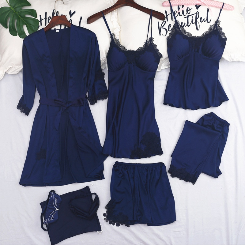 Womens 7PC Strap Top Pants Suit Pajamas Sleepwear Sets Spring Autumn Home Wear Nightwear Kimono Robe Bath Gown M-XL