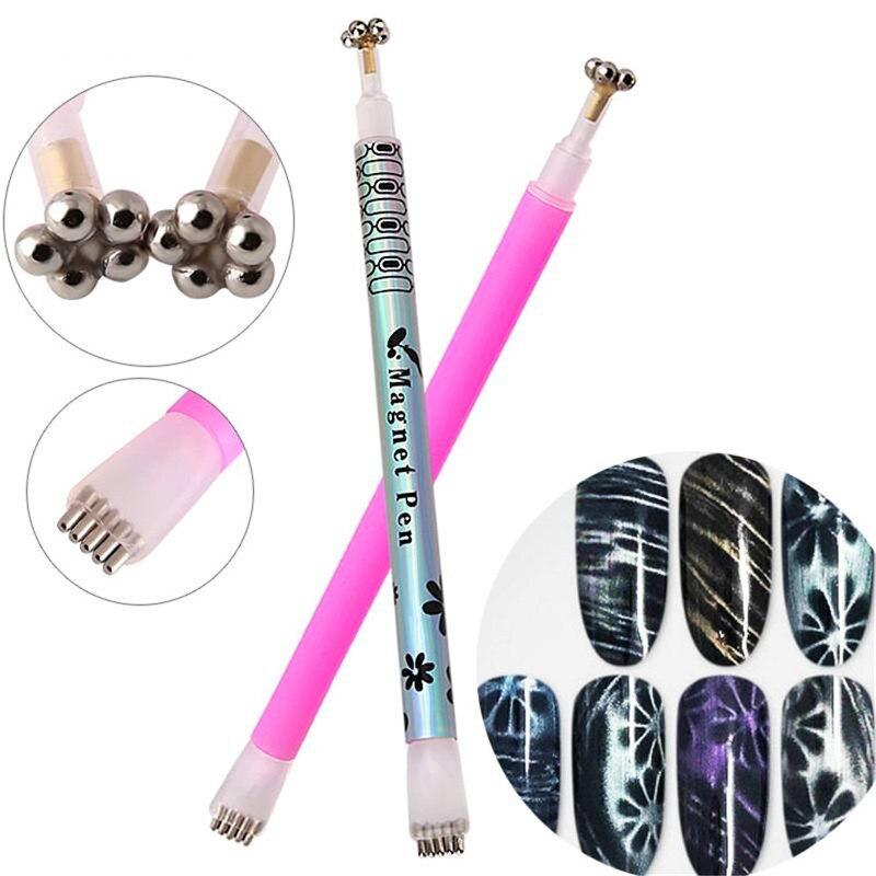 1Pc doble ojo de gato imán pluma varita mágica de cuadrícula de rayas para Gel magnético UV belleza manicura uñas DIY herramientas de arte