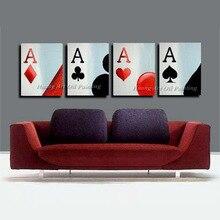 مرسومة باليد جديدة لعبة البوكر زيت على قماش اللوحة التجريدية الحديثة الاكريليك بطاقة المباراة الجدارية مجموعة ديكور المنزل لوحات من الصور