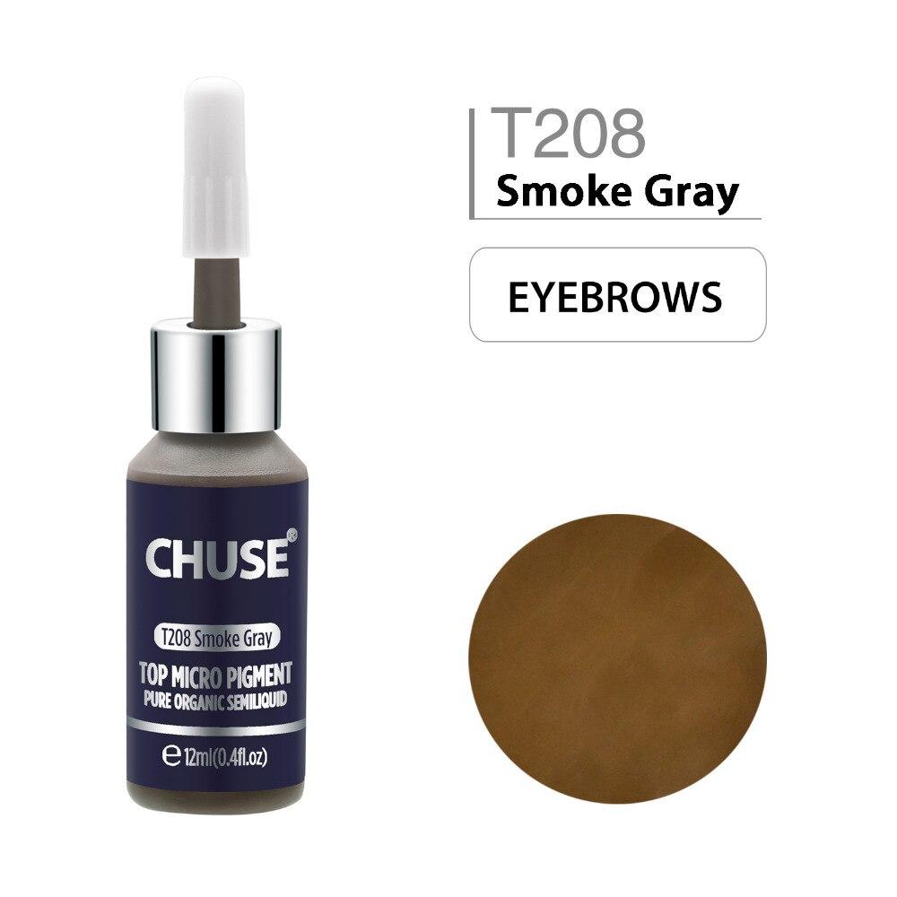 CHUSE Smoke Gray T208 tinta de maquillaje permanente delineador de ojos tatuaje tinta conjunto de cejas Microblading pigmento profesional 12ML 0,4 oz
