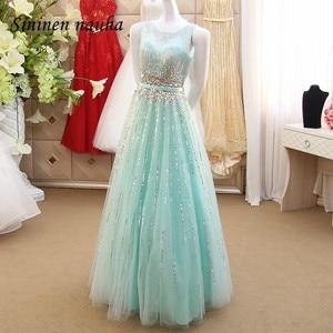 Женское вечернее платье мятного цвета, длинное платье из тюля с бусинами и кристаллами, свадебное платье для выпускного вечера, Vestidos De Festa Robe De Soiree 275