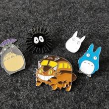 1 pièces Kawaii Anime TOTORO Bus charbon métal Anime Figure de dessin animé jouet broche broches broche poitrine frateroch