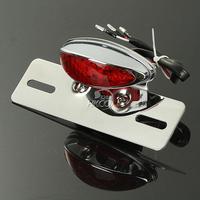 Motorcycle Chrome Integrated LED Light Tail Brake License Plate Mount Holder