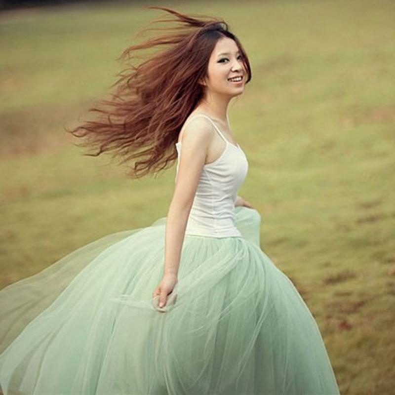 Free shipping, pleated princess wind gauze expansion bottom puff women skirt