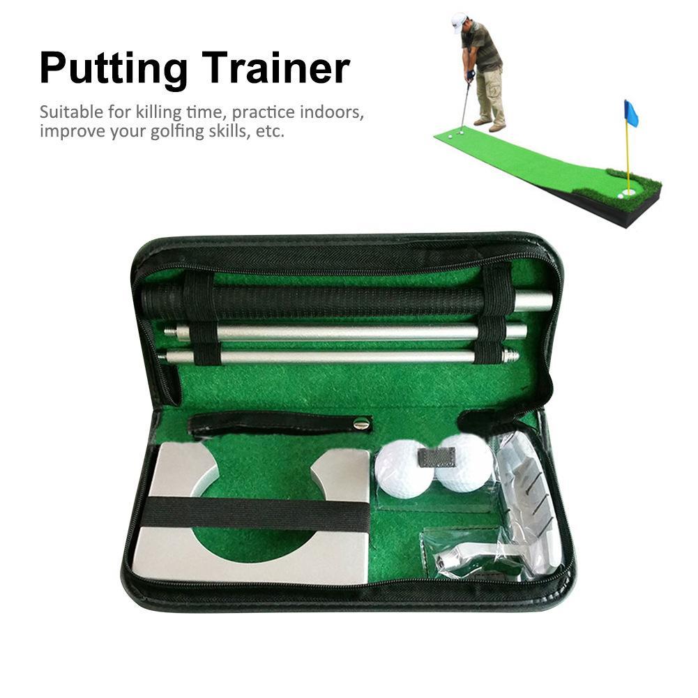 Taco de Golfe Colocando Conjunto Trainer Equipamento de Treinamento Indoor portátil Golfs Bola Titular Ferramenta de Treinamento Aids Com Carry Case