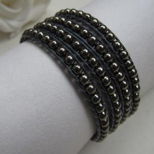 Free Shipping!!!Handmade 4mm black glass pearl friendship wrap bracelet on black hemp cord