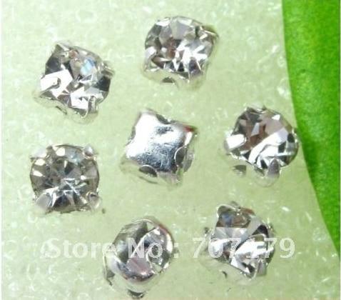 3mm, 4mm, 5mm, 6mm, 7mm, 8mm, 10mm Clear color de Cristal strass base de prata, Cristal sew em pedras