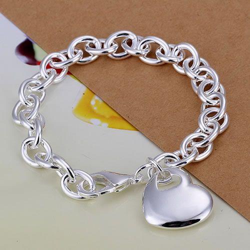 Pulsera chapada en plata H273, joyería de moda chapada en plata Corazón en pulsera gruesa/asjza fecanvja