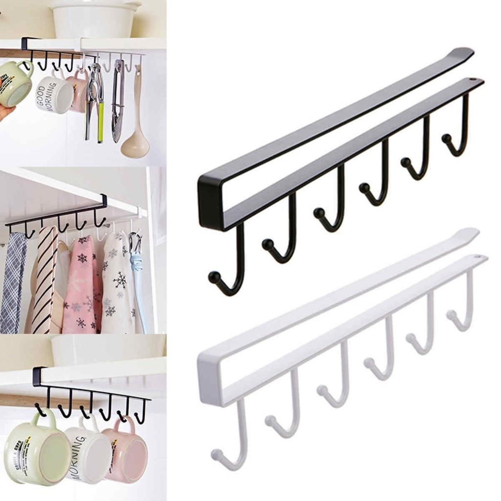 6 Hooks Cup Holder Hang Kitchen Cabinet Under Shelf Storage Rack Organiser Hook Iron Kitchen Storage